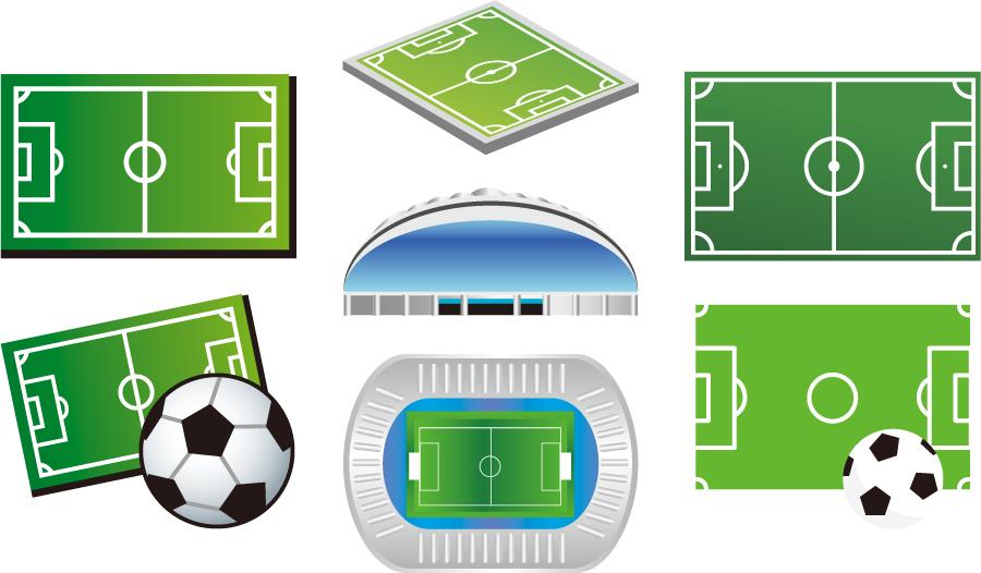 フリーイラスト 7種類のサッカーフィールドとサッカースタジアムのセット