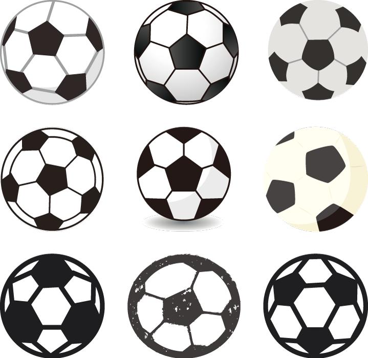 フリーイラスト 9種類のサッカーボールのセット