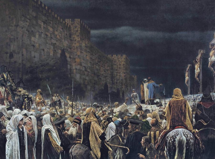 フリー絵画 ヴァシーリー・ヴェレシチャーギン作「ローマ人によって磔刑されるキリスト」
