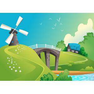 フリーイラスト, ベクター画像, SVG, 風景, 田舎, 風車, 橋, 河川, 住宅, 家(一軒家), 青空