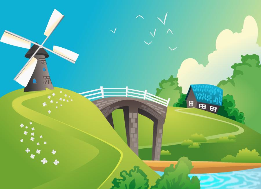 フリーイラスト 風車のある田舎の風景