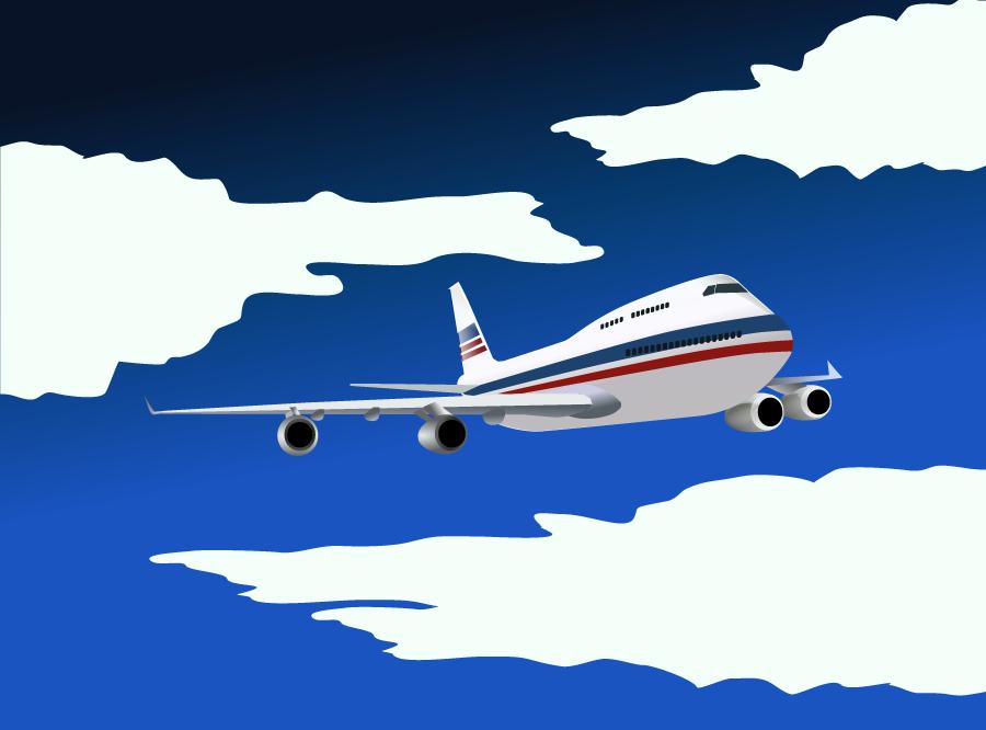 フリーイラスト 大空を飛ぶ旅客機