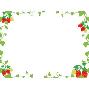 フリーイラスト, ベクター画像, AI, 背景, フレーム, 囲みフレーム, 食べ物(食料), 果物(フルーツ), 苺(イチゴ), 作物