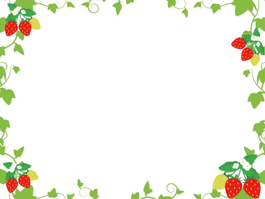 フリーイラスト イチゴの実と葉のフレーム