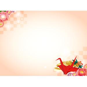 フリーイラスト, ベクター画像, AI, 背景, フレーム, 対角フレーム, 和柄, 正月, 年賀状, 1月, 折り鶴(折鶴), 南天
