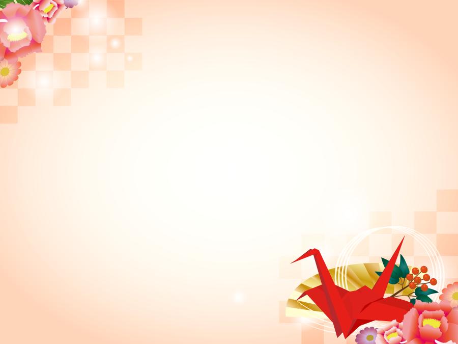 フリーイラスト 折鶴と南天の和柄の飾り枠