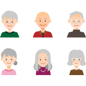 フリーイラスト, ベクター画像, AI, 人物, 老人, 祖父(おじいさん), 祖母(おばあさん)