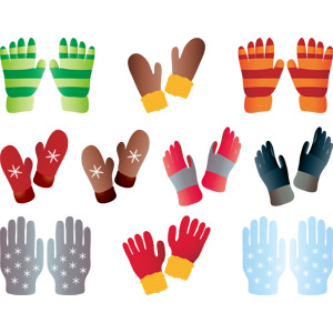 フリーイラスト, ベクター画像, AI, 防寒具(防寒着), 手袋, ミトン, 冬