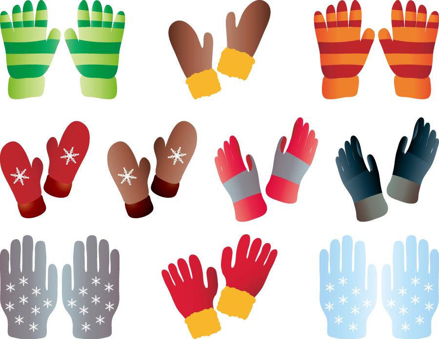 フリーイラスト 10種類の防寒用手袋のセット