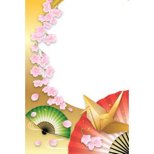 フリーイラスト, ベクター画像, AI, 背景, 和柄, 正月, 1月, 折り鶴(折鶴), 扇子, 桜(サクラ), 花, 春