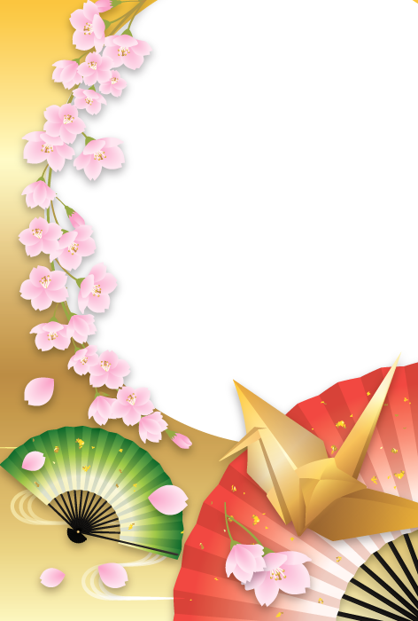 フリーイラスト 折り鶴と扇子と桜の花の和柄背景