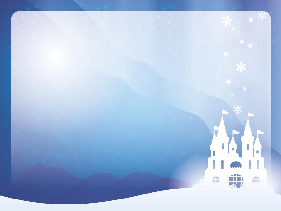 フリーイラスト 雪の城の飾り枠