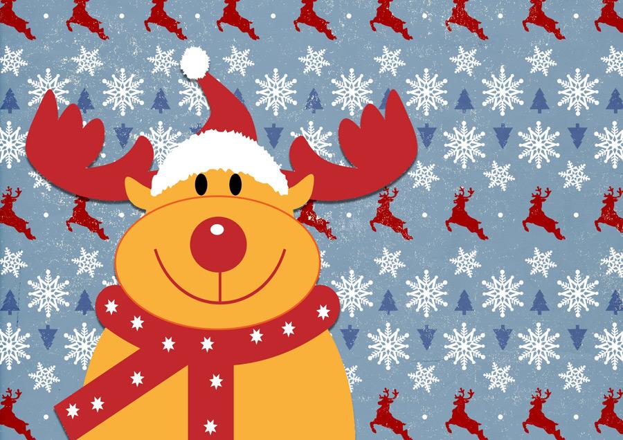 フリーイラスト トナカイと雪の結晶のクリスマス背景