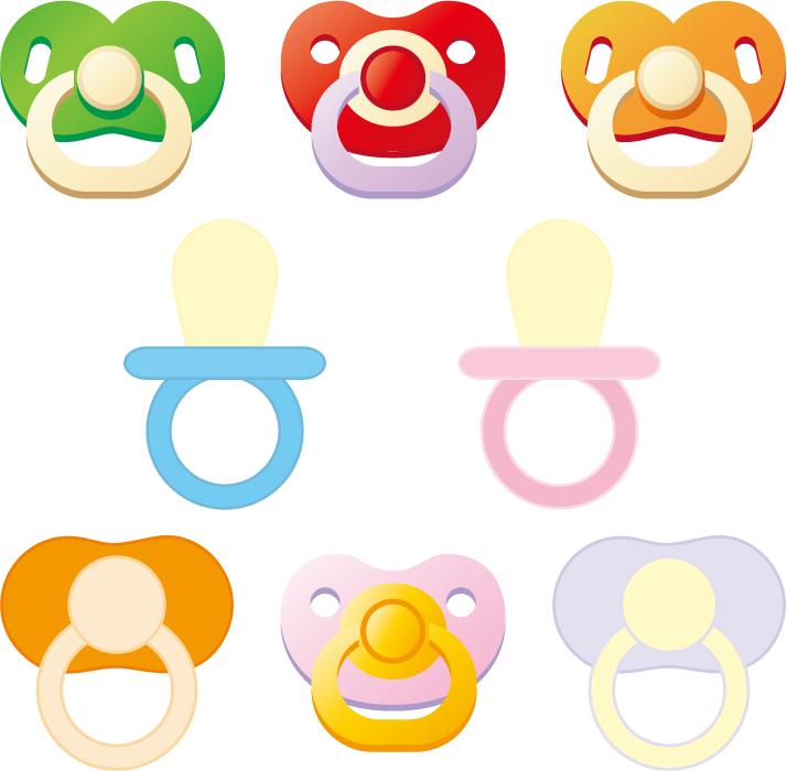 フリーイラスト 8種類のおしゃぶりのセット