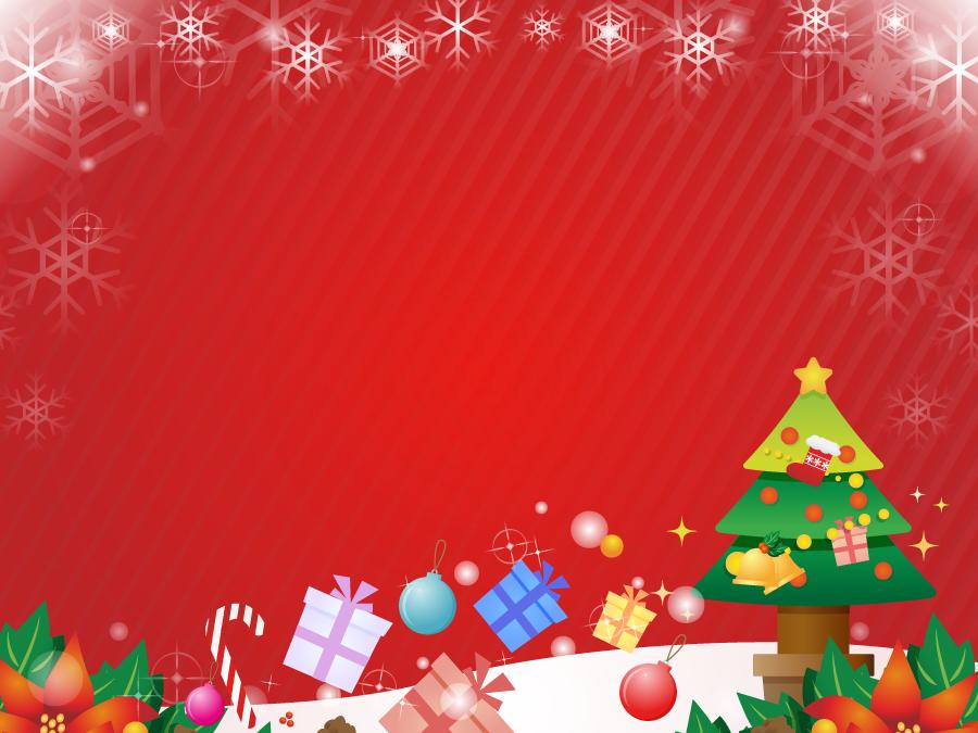 フリーイラスト ツリーとプレゼントのクリスマスの飾り枠