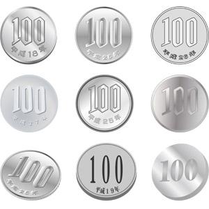 フリーイラスト, ベクター画像, AI, お金, 日本円, 硬貨, 百円玉(百円硬貨)