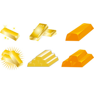 フリーイラスト, ベクター画像, AI, 金塊, 金(ゴールド), 金色(ゴールド)