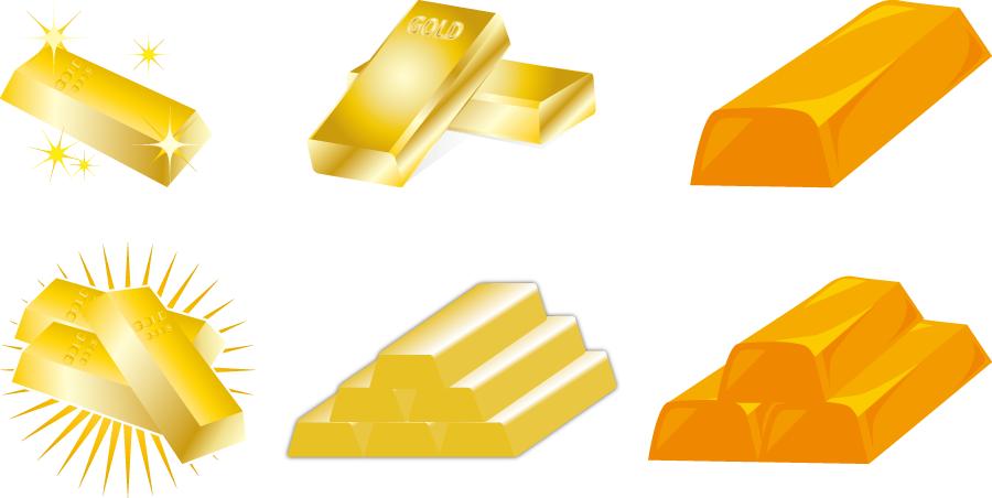 フリーイラスト 6種類の金塊のセット