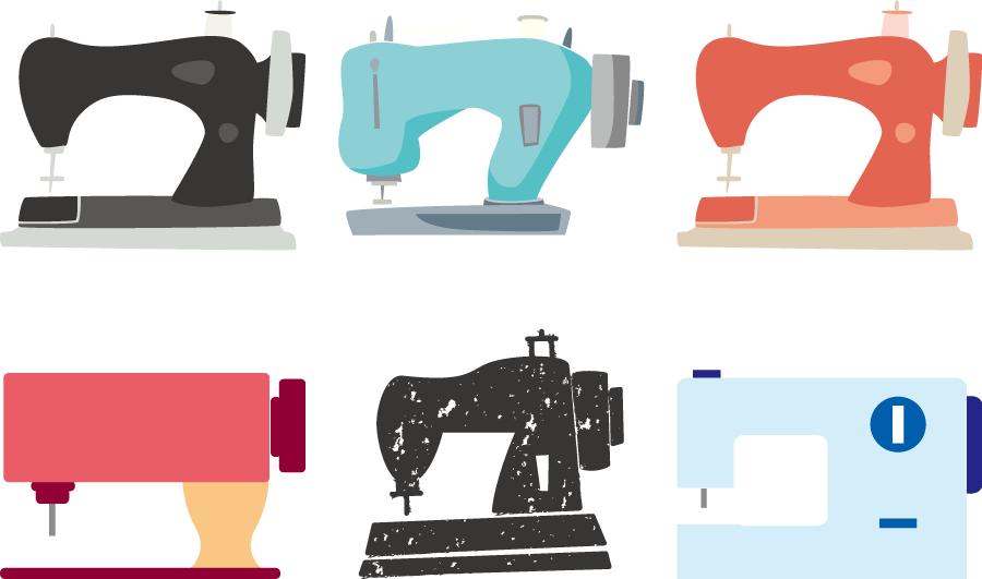 フリーイラスト 6種類のミシンのセット