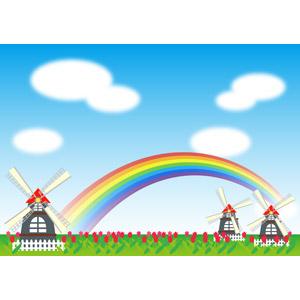 フリーイラスト, ベクター画像, EPS, 風景, 風車, 花畑, 花, チューリップ, 虹, 青空, 雲