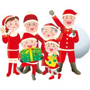 フリーイラスト, ベクター画像, EPS, 人物, 家族, 親子, 三世代家族, 祖父(おじいさん), 祖母(おばあさん), 父親(お父さん), 母親(お母さん), 娘, 息子, 年中行事, クリスマス, 12月