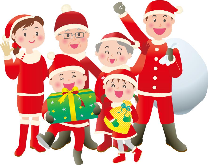 フリーイラスト クリスマスと三世代家族