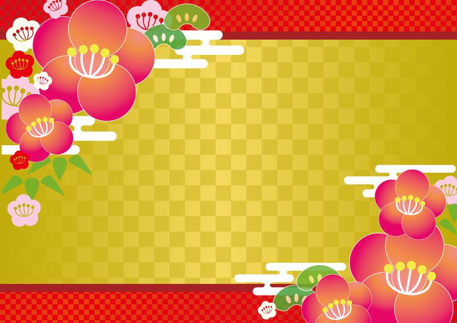 フリーイラスト 松竹梅のお正月の飾り枠
