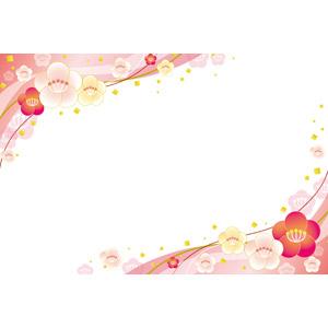 フリーイラスト, ベクター画像, EPS, 背景, フレーム, 対角フレーム, 和柄, 花, 梅(ウメ), 春, 正月, 1月, 紙吹雪