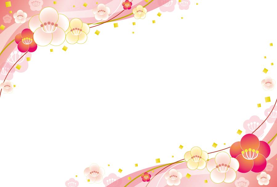 フリーイラスト 梅の花の飾り枠