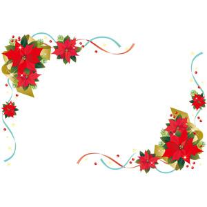 フリーイラスト, ベクター画像, EPS, 背景, フレーム, 対角フレーム, 植物, 花, ポインセチア, 年中行事, クリスマス, 12月, リボン