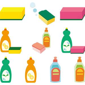 フリーイラスト, ベクター画像, AI, 食器用洗剤, スポンジ, 洗剤, 食器洗い