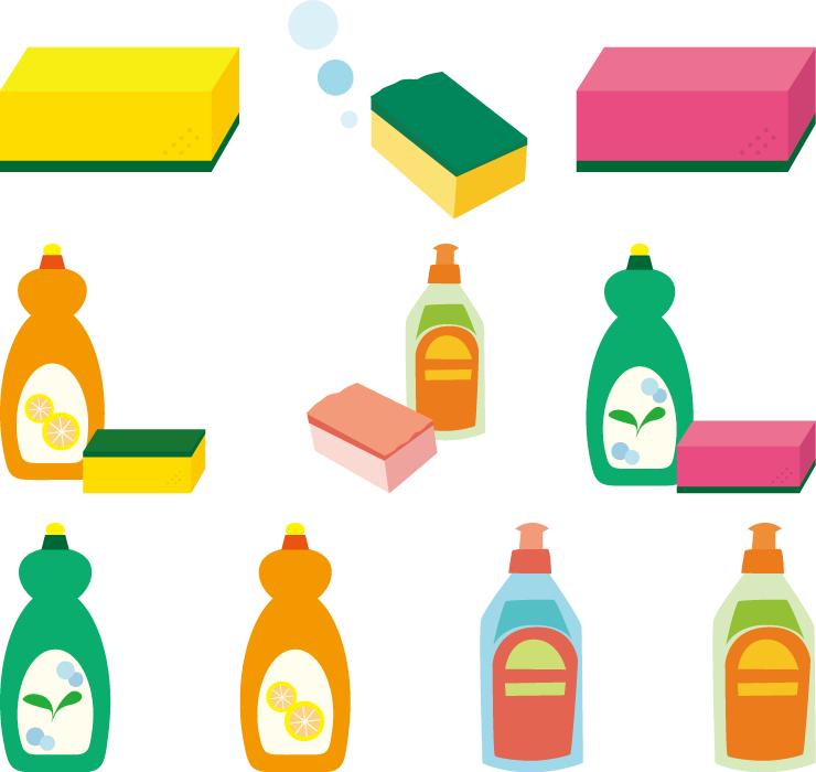 フリーイラスト 10種類の食器用洗剤とスポンジのセット