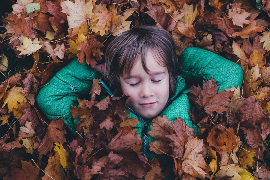 フリー写真 落ち葉の布団で眠る外国の男の子