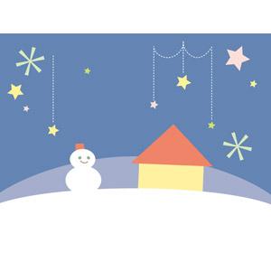 フリーイラスト, ベクター画像, AI, 背景, 冬, 雪, 雪だるま, 家(一軒家), 星(スター)