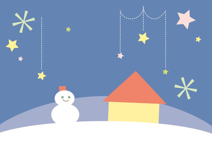 フリーイラスト 雪だるまと家と星の背景