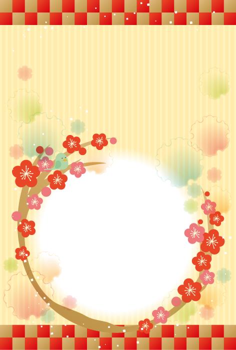 フリーイラスト 梅の花と雪輪のお正月の背景