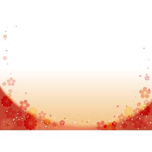 フリーイラスト, ベクター画像, AI, 背景, フレーム, U字フレーム, 花柄, 梅(ウメ), 菊(キク)