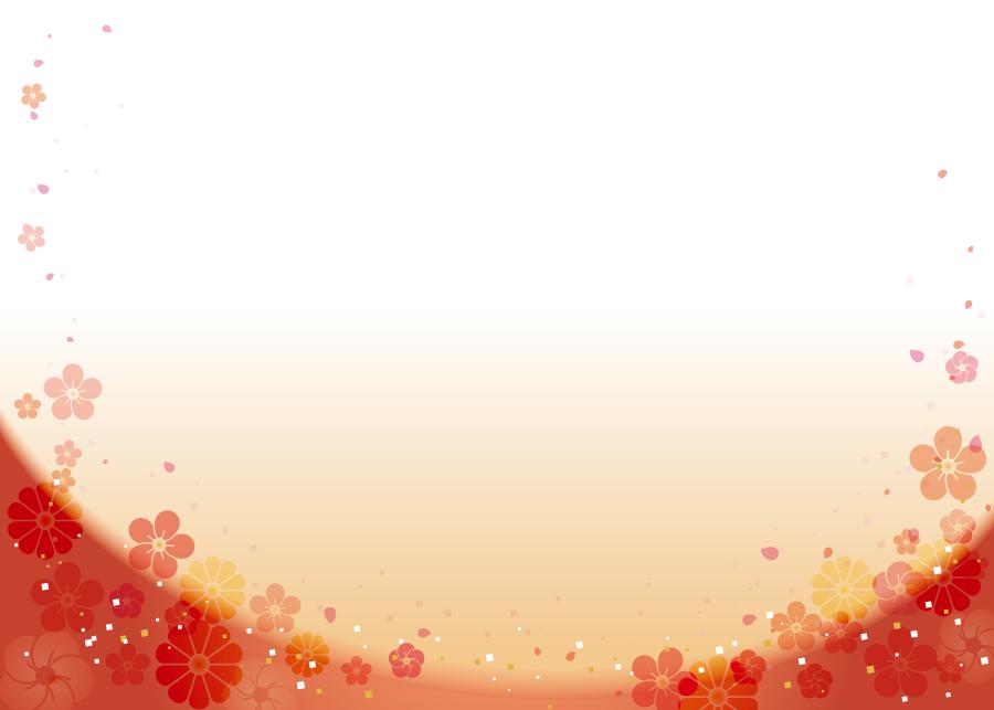 フリーイラスト 梅と菊の花柄の飾り枠