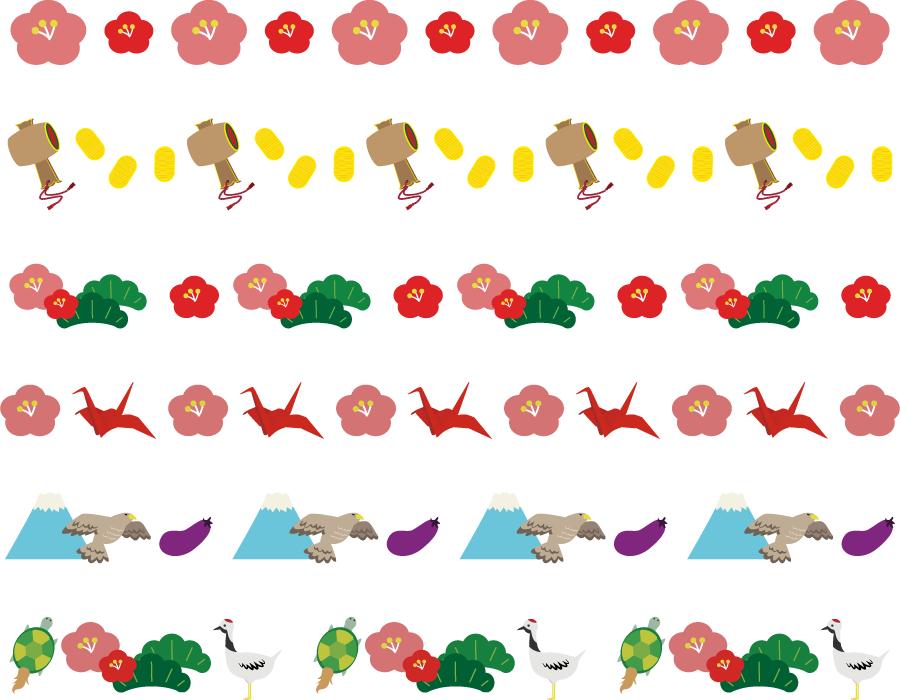 フリーイラスト 梅や松などのお正月のライン