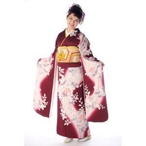 フリー写真, 人物, 女性, アジア人女性, 日本人, 女性(00047), 和服, 着物, 成人式, 正月, 1月, 白背景