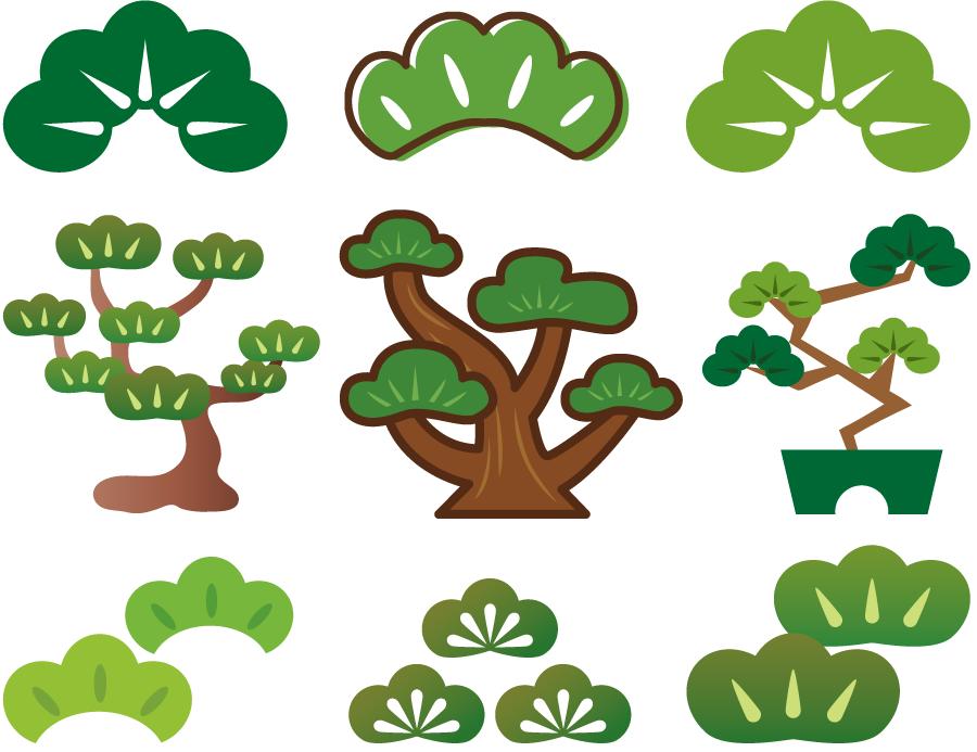 フリーイラスト 9種類の松のセット