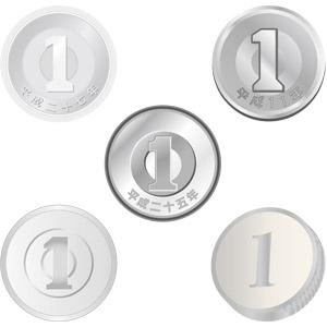 フリーイラスト, ベクター画像, AI, お金, 日本円, 硬貨, 一円玉(一円硬貨)