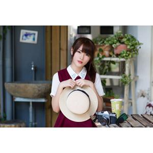 フリー写真, 人物, 女性, アジア人女性, 中国人, 欣欣(00001), 帽子, 麦わら帽子