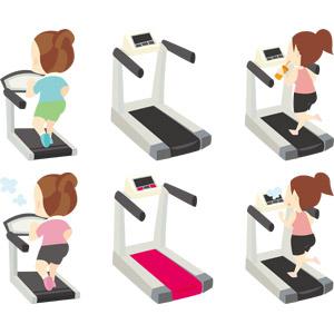 フリーイラスト, ベクター画像, AI, ランニングマシン(ルームランナー), 運動, フィジカルトレーニング, ジョギング, 走る, 人物, 女性, ダイエット, 飲む, 水分補給