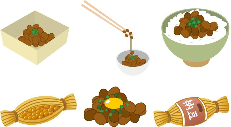 フリーイラスト 6種類の納豆のセット