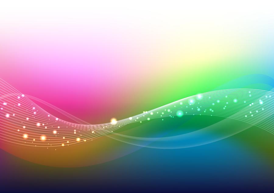 フリーイラスト 波線と光の玉のイメージ背景