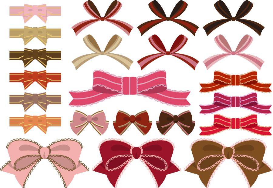 フリーイラスト 22種類の蝶リボンのセット