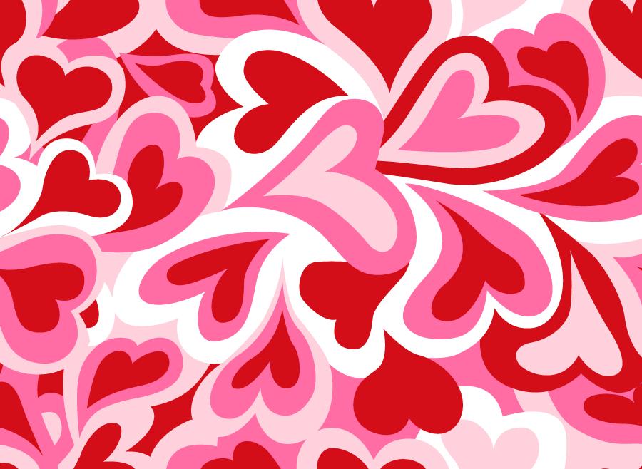フリーイラスト 赤とピンクのハートの背景