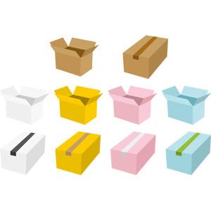 フリーイラスト, ベクター画像, AI, 段ボール(ダンボール), 箱(ボックス), 荷物, 引っ越し