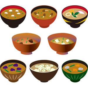 フリーイラスト, ベクター画像, AI, 食べ物(食料), 料理, 汁物, スープ, 味噌汁(みそ汁), 日本料理, 和食, 豆腐, 味噌(みそ), お椀